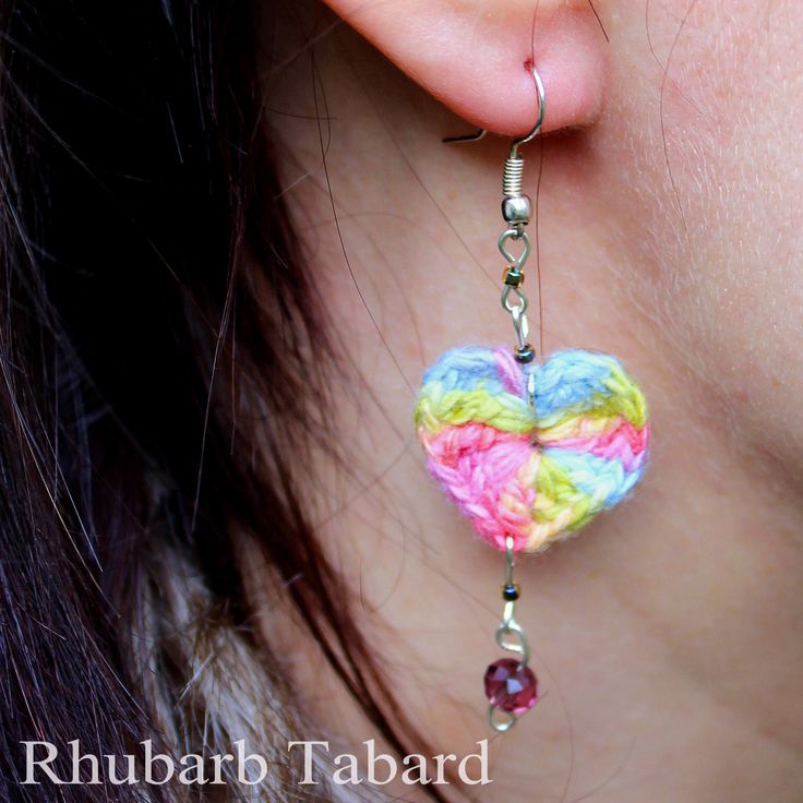 rainbow heart earrings, crochet heart earrings, multicolour heart earrings, dangly handmade earrings, fabric earrings by RhubarbTabard on Etsy