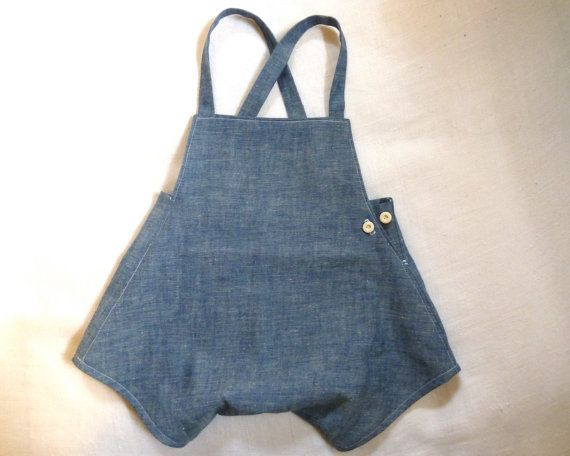 Chambray Playsuit Romper Overalls With Suspenders