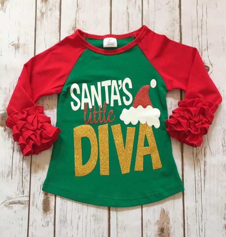 """""""Santa's Little Diva"""" Ruffle Sleeve Tee"""