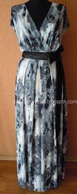 My Fancywork Blog: Серое вечернее платье со спущенными цельнокроеными...