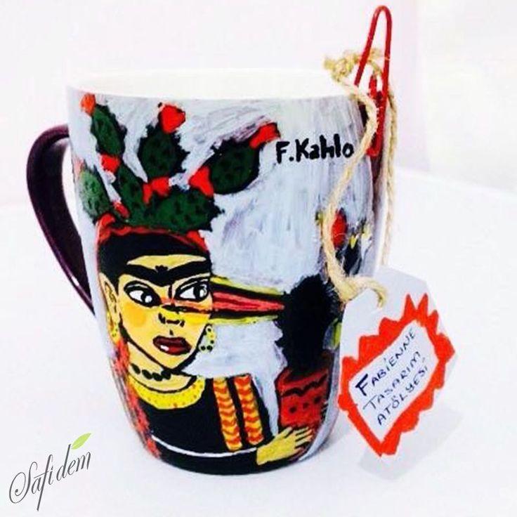Frida Kahlo Kupa Bardak özel tasarımların buluşma noktası çay butiği www.safidem.com