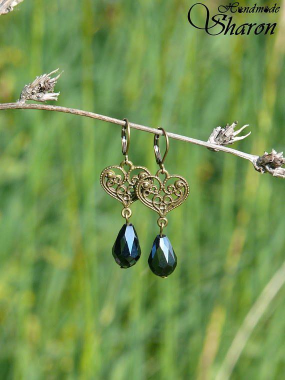 Brass heart filigree earrings with fire polished glass drop