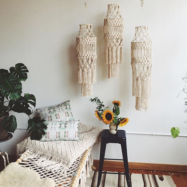 Some beautiful macrame chandeliers we made are heading to a client this week! #modernmacrame #modernmacramestudio