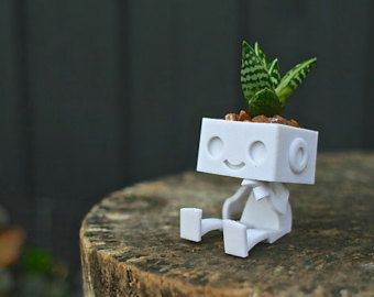 3dprinted Cute Robot Succulent Planter Sitting by XYZWorkshop