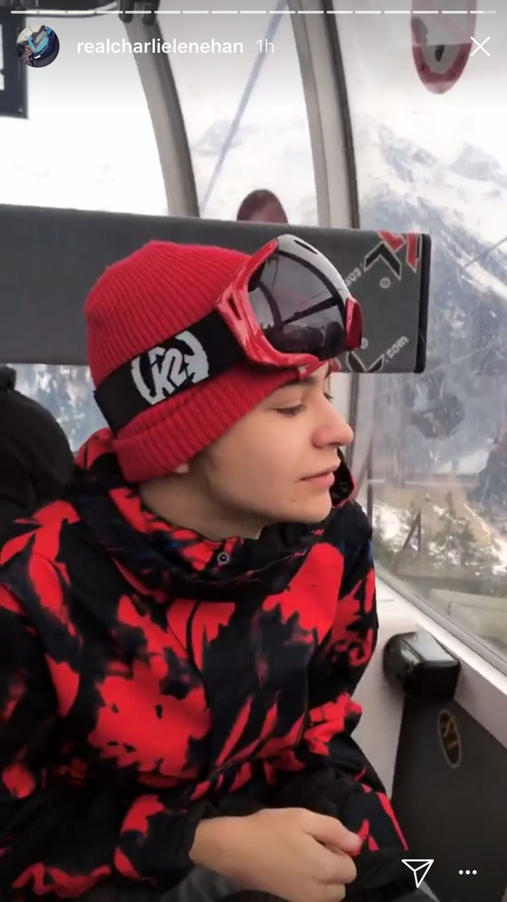 Look at him he looks so cold. I hope they had fun snowboarding.
