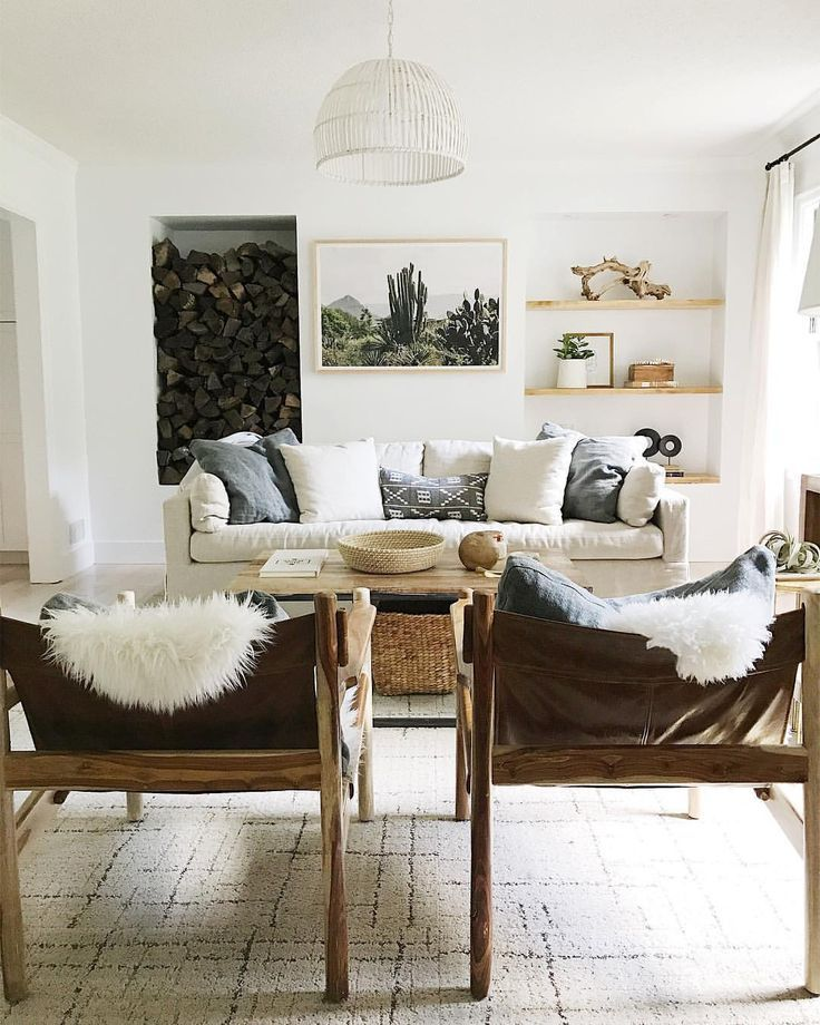 neutral living room with lots of texture