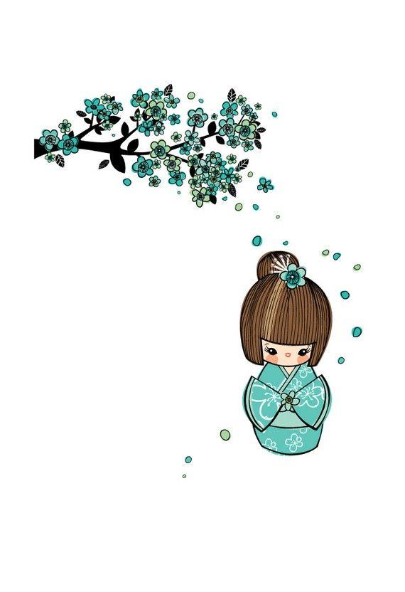 Blue Cherry Blossom Kokeshi Doll Art