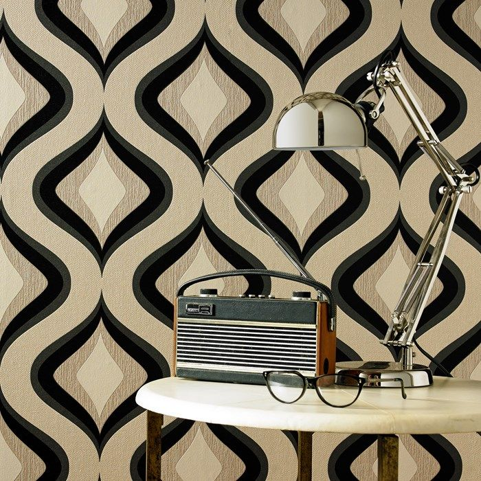 Trippy Charcoal Wallpaper by Graham and Brown