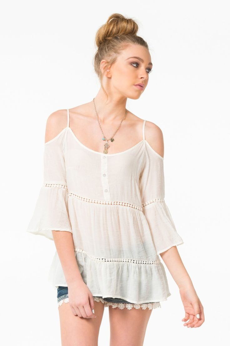Ivory off the shoulder peasant blouse with straps - Clothing | Ardene Official Online Store