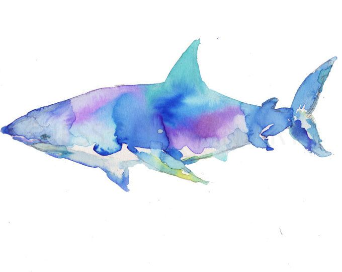 Rainbow Sharks Watercolor Art Print Underwater Nursery Scuba
