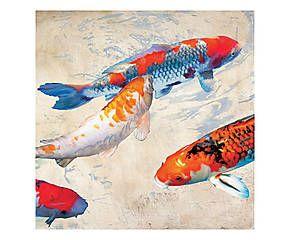 Stampa fine art su canvas con telaio in legno Koi 2 - 70x70x4 cm
