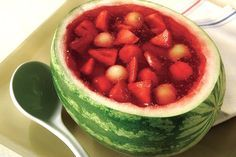 Surprise the BBQ crowd with this fruit-filled melon, and everyone will want to know how you did it. Fresh fruits, cool gelatin and a slice of summer all in one.