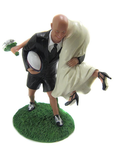 Custom Rugby Wedding Cake Topper. It's so weird that I want it.