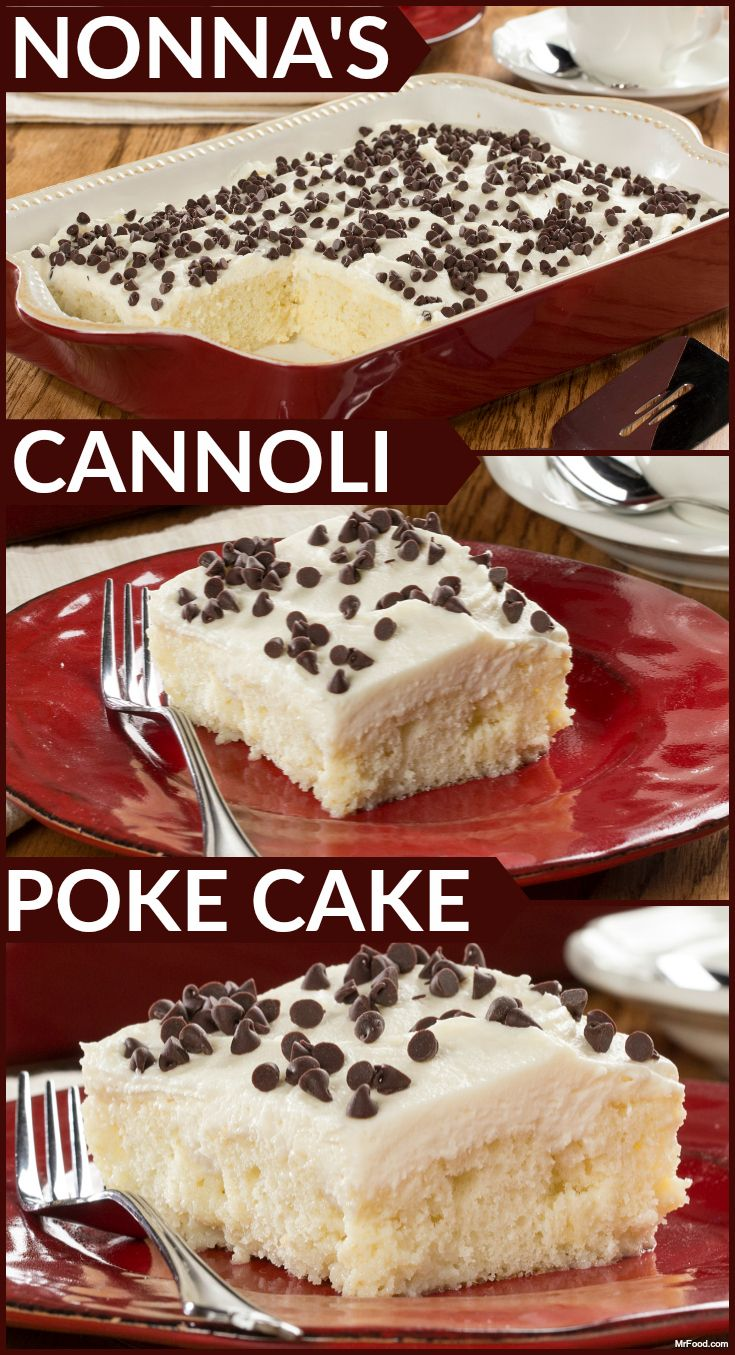 Cannoli for everyone! This party-sized poke cake has all the flavor of one of your favorite Italian desserts – the cannoli. And since it starts with a box of cake mix, you know it's going to be easy!
