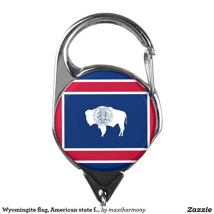 Wyomingite flag, American state flag Badge Holder