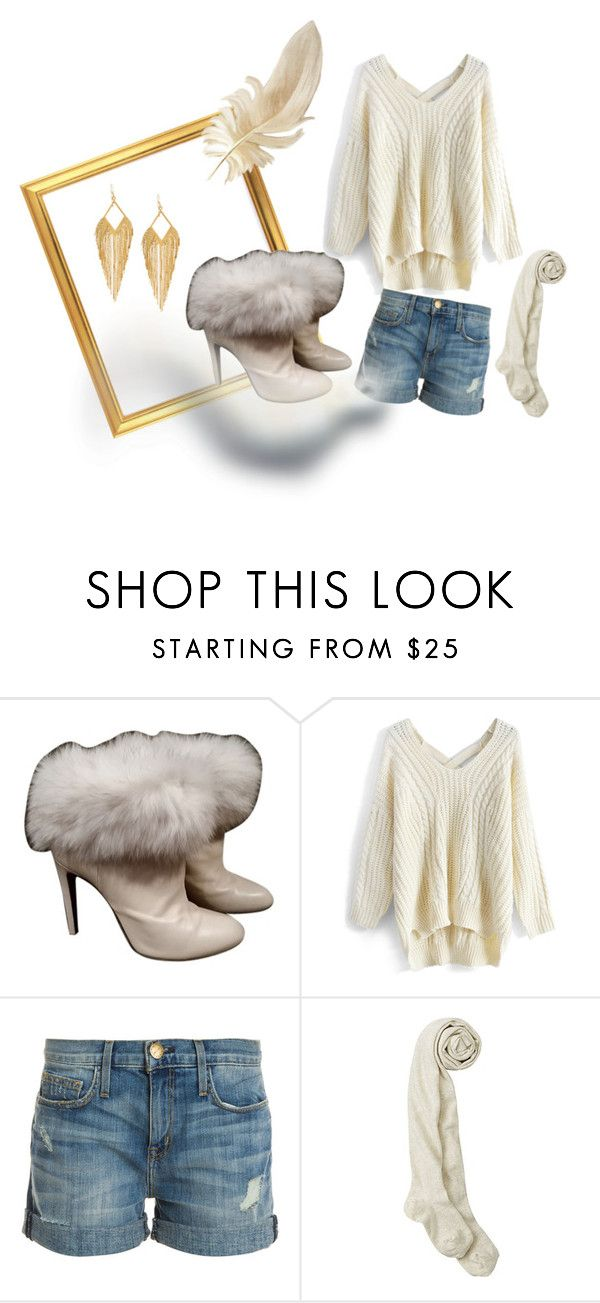 """Winter Whites  #2"" by jajalamajala ❤ liked on Polyvore featuring Sergio Rossi, Chicwish, Current/Elliott and Panacea"