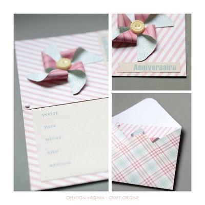 PINWHEEL INVITATION WITH ENVELOPE - DIY / Carte d'anniversaire / Blog Craft origine (fr/uk)