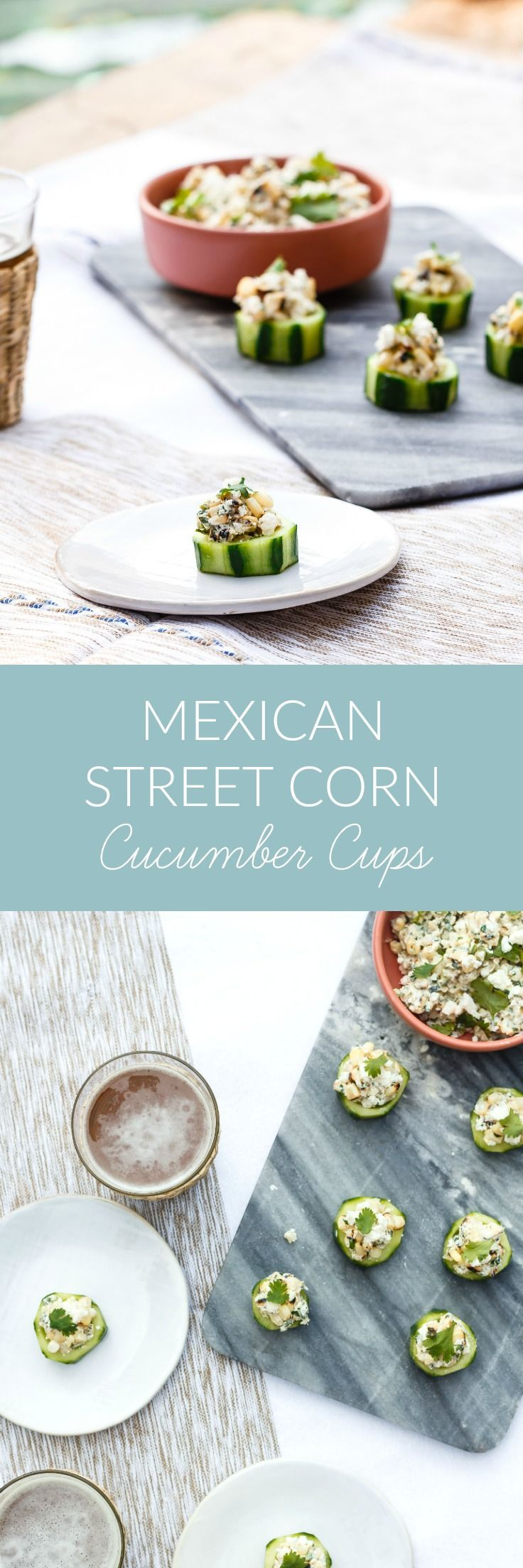 Enjoy a daintier riff on street food with these Mexican Street Corn Cucumber Cups, a light summer appetizer and the perfect poolside snacking provision.