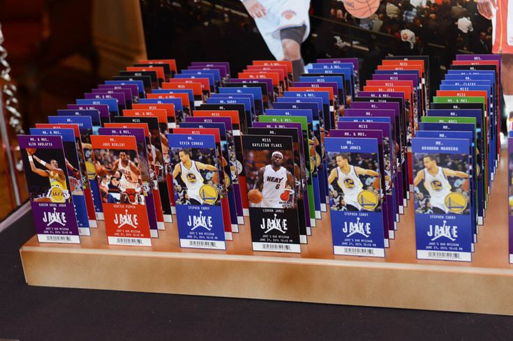 Basketball Ticket Place Cards with Photos of Players & Team Logos