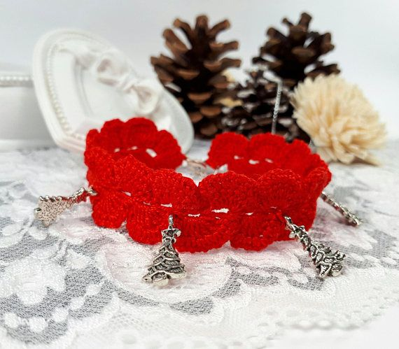 Christmas crochet bracelet red Christmas jewelry red lace