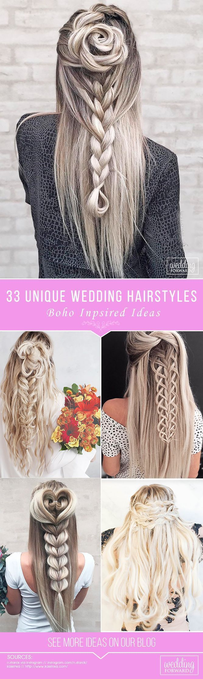 33 Creative & Unique Wedding Hairstyles ❤️ From creative hairstyles with romantic, loose curls to formal wedding updos, these unique wedding hairstyles would work great either for your ceremony or for your reception. See more: