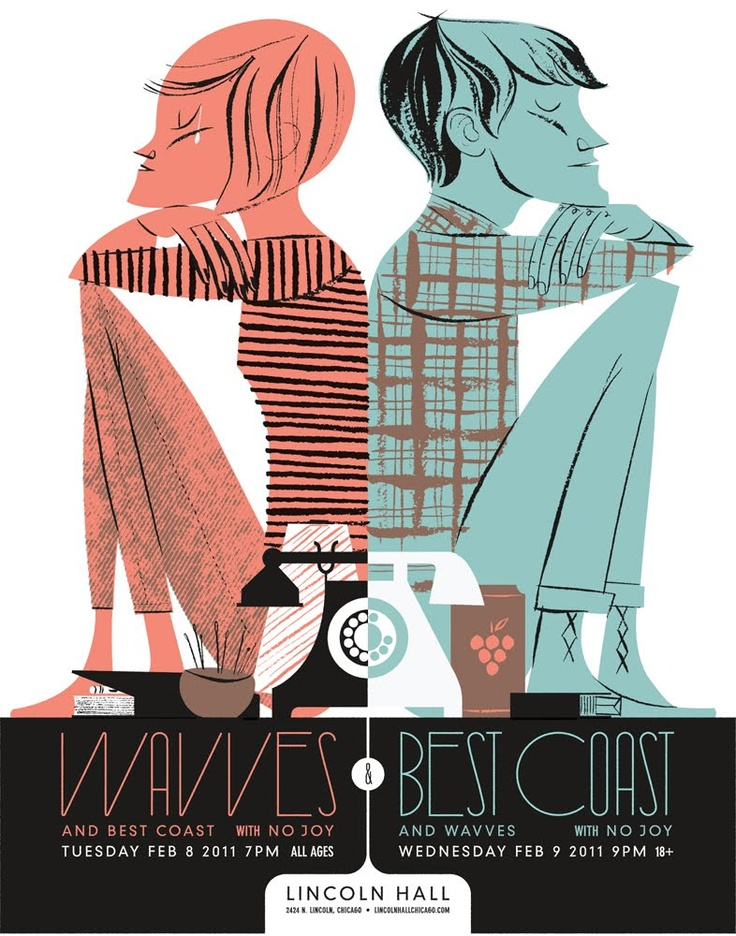 Wavves + Best Coast Poster   Illustrator: Anne Benjamin