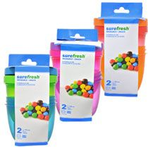 Sure Fresh 8-oz. Round Colorful Plastic Containers with Lids, 2-ct. Packs