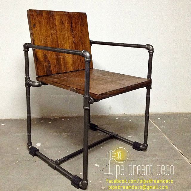 Industrial chair --- wood and pipes- designed & created by PIPE DREAM DECO