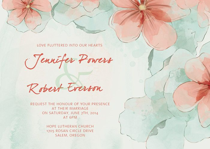 spring mint green and peach flower watercolor wedding invitations ewi377 - Peach Wedding Invitations
