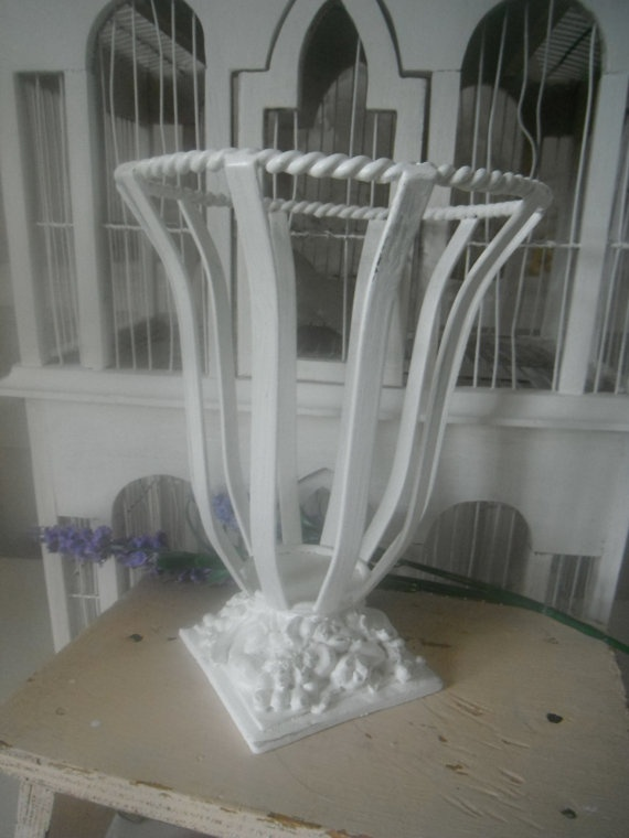 white candle holder shabby chic country cottage by ShabbyRoad, $26.95: Country Cottages, Candle Holders, White Candles