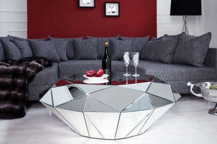 Design Couchtisch Diamond 115cm Spiegelglas Facetten Design Diamant Riess Ambiente De Wohnzimmertische Couchtisch Truhe Spiegelglas