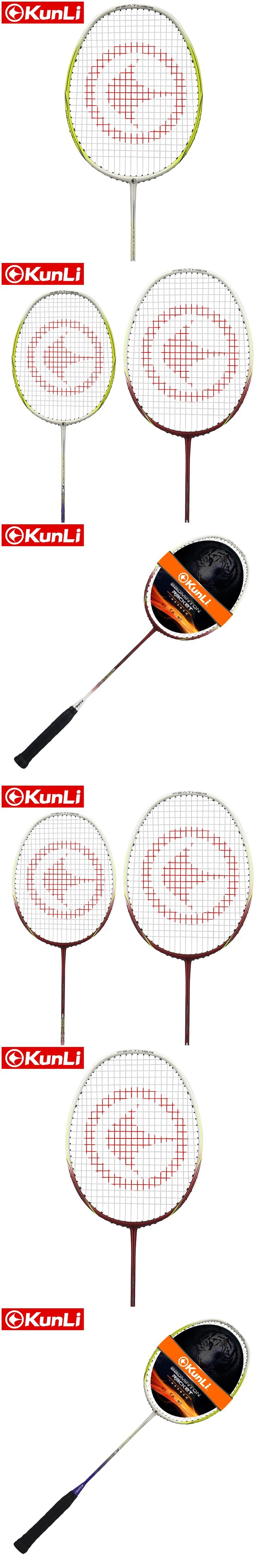 100%original KUNLI badminton racket feather K300 RED/YELLOW full carbon professional TB NANO technology feather racket
