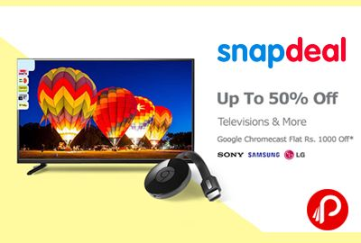 Snapdeal is offering Upto 50% off on Sony, Samsung, LG #Televisions and Flat Rs.1000 off on #Google #Chormecast.   http://www.paisebachaoindia.com/televisions-upto-50-off-google-chormecast-flat-rs-1000-off/
