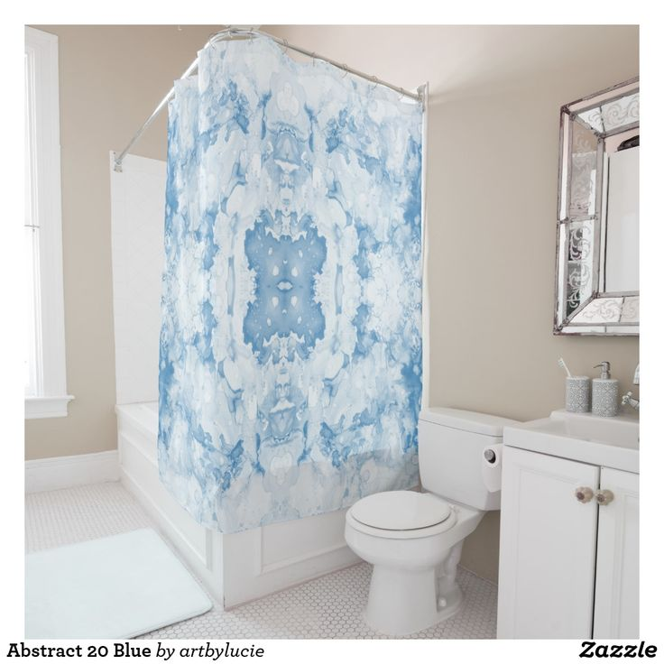 Abstract 20 Blue Shower Curtain #showercurtain #blue #bathroom