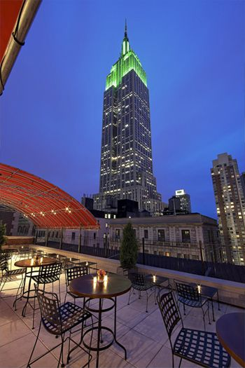 Hotel Metro, NYC. Roof top view of the Empire State Building.
