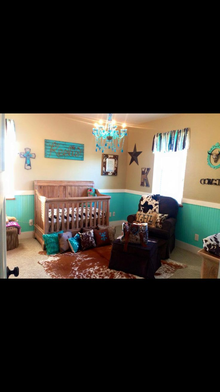 Teal and brown cowgirl nursery