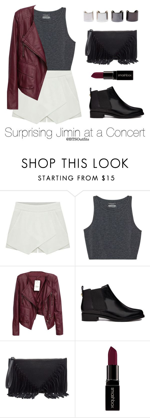 """Surprising Jimin at a Concert"" by btsoutfits ❤ liked on Polyvore featuring Eloqueen, ASOS, Sole Society, Smashbox and Luv Aj"