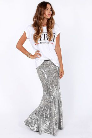 Check it out from Lulus.com! What will you do with your lap of luxury once it's been dazzled by the Total Stardom Silver Sequin Mermaid Skirt
