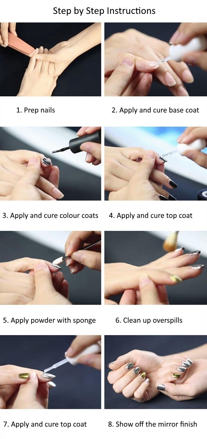 How to apply magic mirror effect nail powder