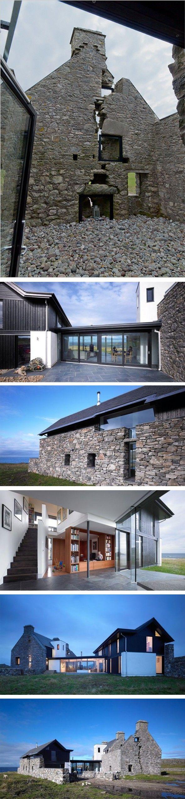 Incroyable bâtisse en pleine nature Peu d'informations sur cette maison en pierre fendue de haut en bas, dont le propriétaire en a fait sa marque de fabriq