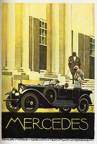 Gorgeous 1920 Mercedes, but little comfort for the riders in the winter or riding through London's dusty streets.