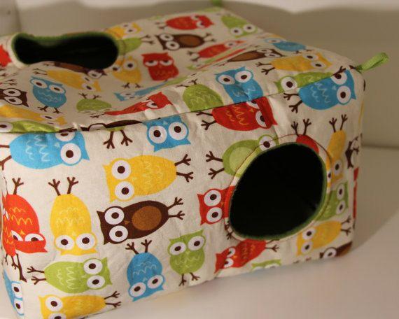 Large Ferret Cube Hanging Rat Cube Guinea Pig Fleece Chinchilla Cosy Rat Cozy Small Pet Accessories Pocket Pet Supplies Owl Cotton Fabric - urban zoologie by ann kelle
