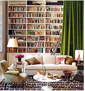 Disappearing bookshelves (see crushed velvet curtain).