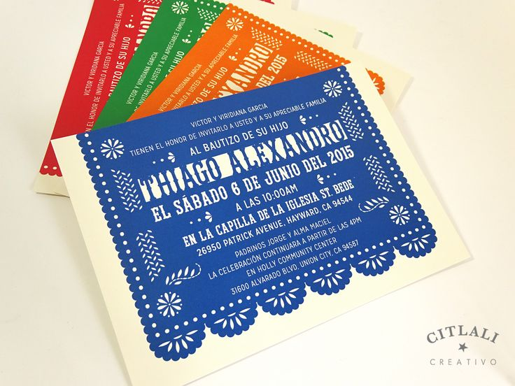 Papel Picado Baptism, Christening or Baby Shower Invitation card in multicolors or any color - Mexican Invitation Folk Art Fiesta Party Invitation or any event - We make & ship to you from Seattle Burien, WA state and ship internationally