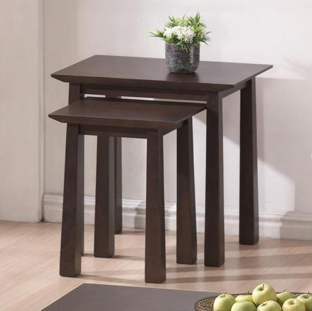 Modern Nesting Table Set Accent Furniture Wood End Brown Dining Decor Veneer