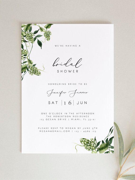 Bridal Shower Invitation Template Printable Wedding Etsy