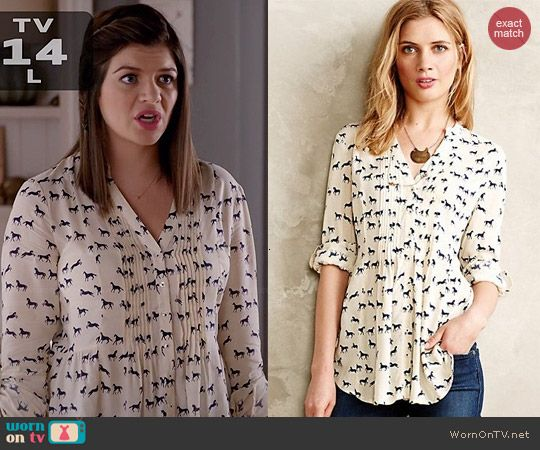 Annie's horse print blouse on Marry Me.  Outfit Details: http://wornontv.net/45272/ #MarryMe
