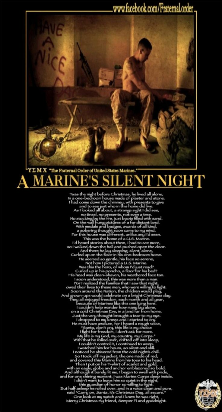 "☆ Poem Author: Lance Corporal Schmidt: ""While a Lance Corporal serving as Battalion Counter Sniper at the Marine Barracks 8th & I, Washington, DC, under Commandant P.X. Kelly and Battalion Commander D.J. Myers [in 1986], I wrote this poem to hang on the door of the Gym in the BEQ.☆"