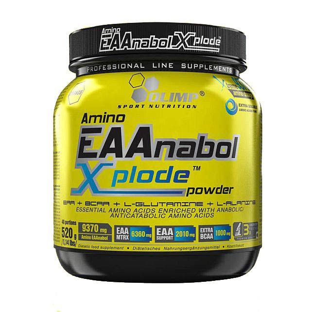 Olimp - Amino EAAnabol Xplode 520g pomarańcza. EAAnabol XPLODE to synergia działania EAA, dodatkowych BCAA, L-GLUTAMINY i L-ALANINY. Doskonały produkt aminokwasowy oparty wyłącznie na wolnych, farmaceutycznie czystych formach aminokwasów. #aminokwasy #suplementydiety #silownia
