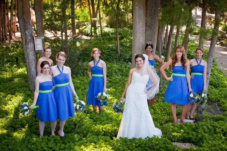 Bride and her maides staggered in the trees: Bride